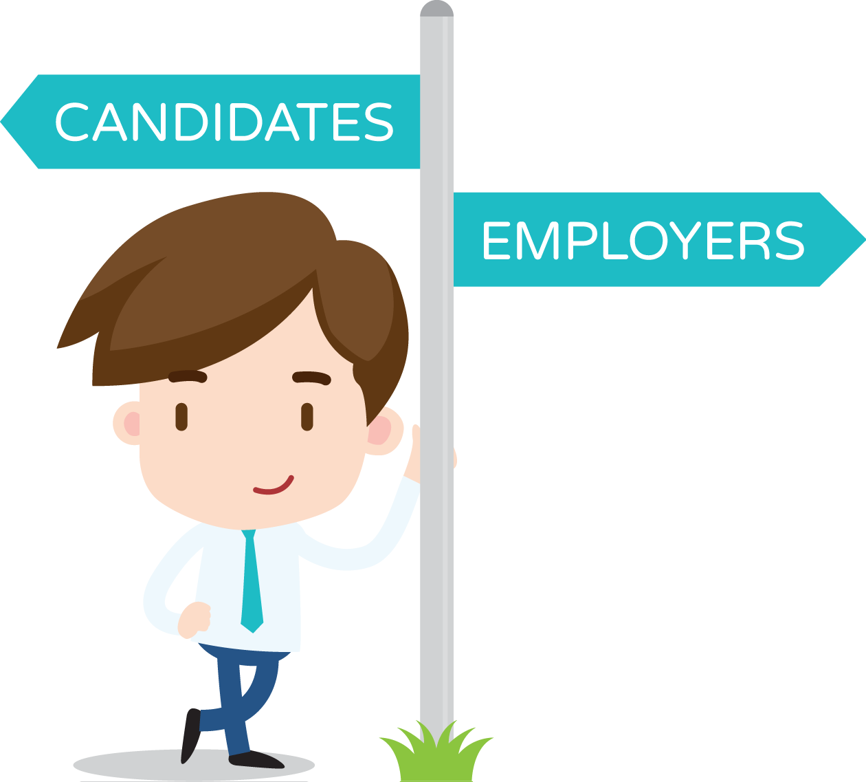 A cartoon character dressed in a suit, leaning up a signpost directing people to the candidates or employers sides of the website